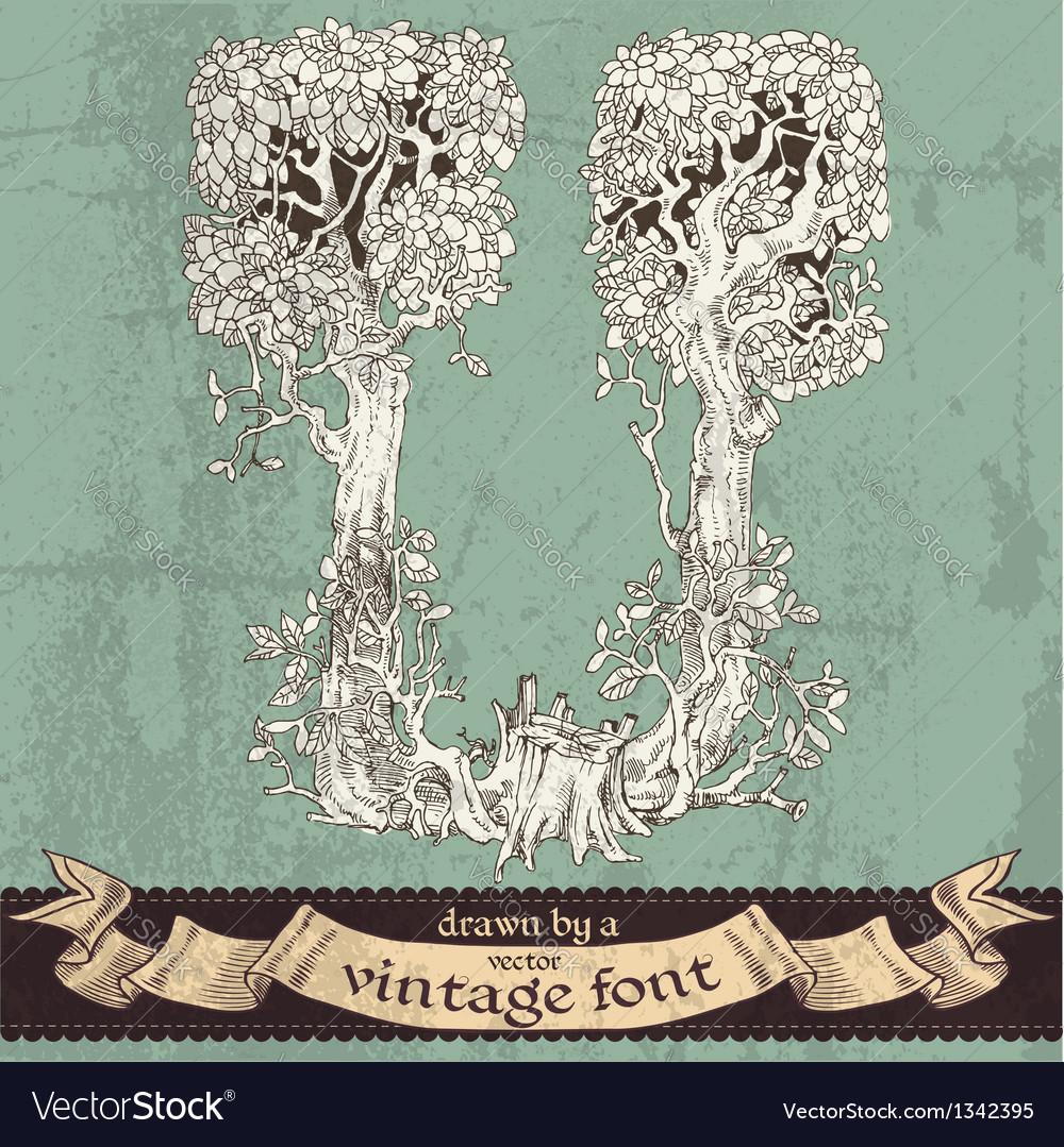 Magic grunge forest hand drawn by a vintage font