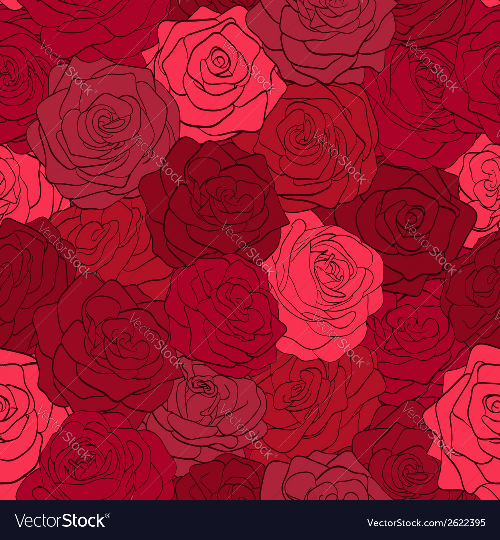 Seamless pattern in red roses with contours