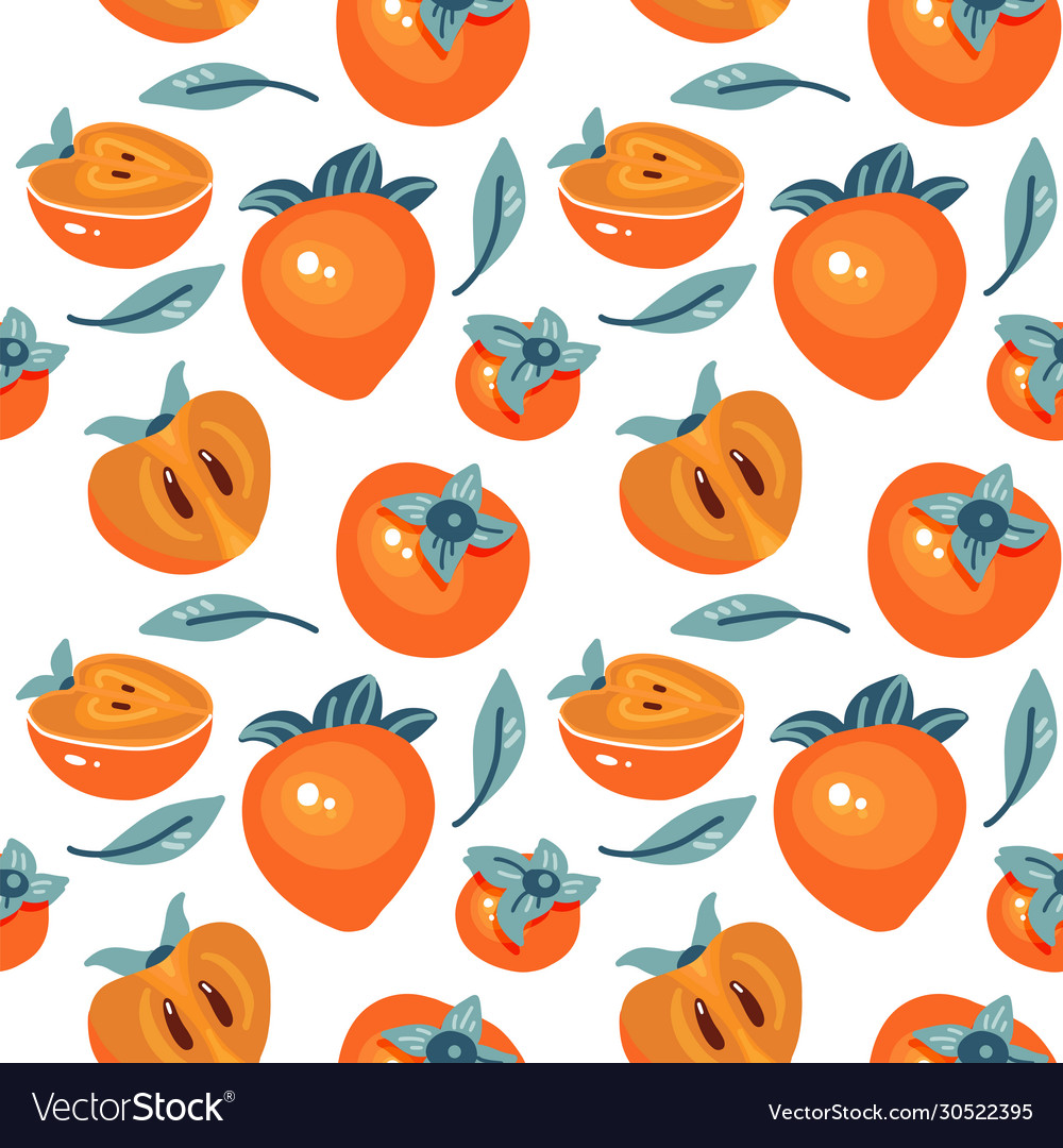 Seamless pattern with cartoon persimmon isolated