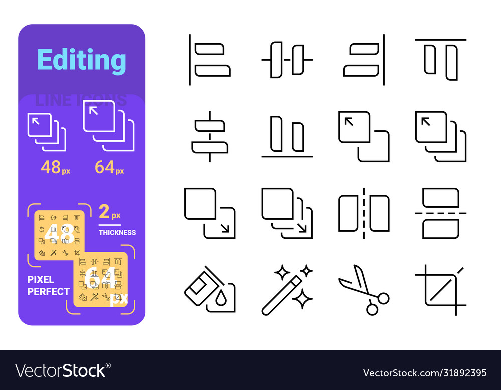 Set editing simple lines icons tools