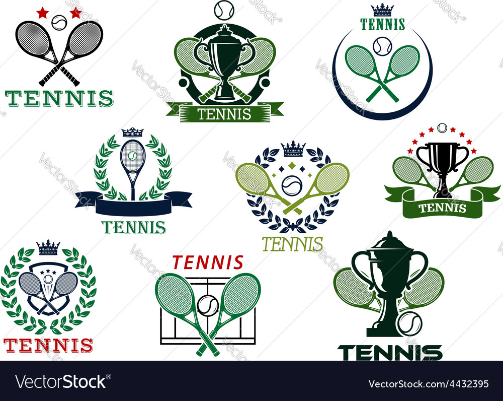 Tennis emblems with equipment and heraldic