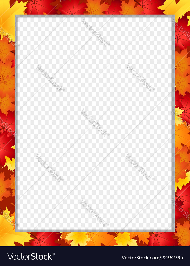 Vertical border with fallen autumn maple leaves