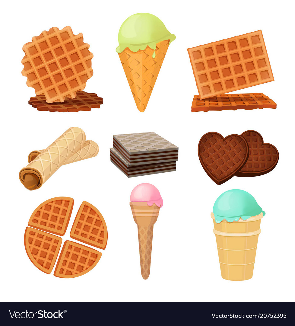Waffels desserts set of pictures isolate