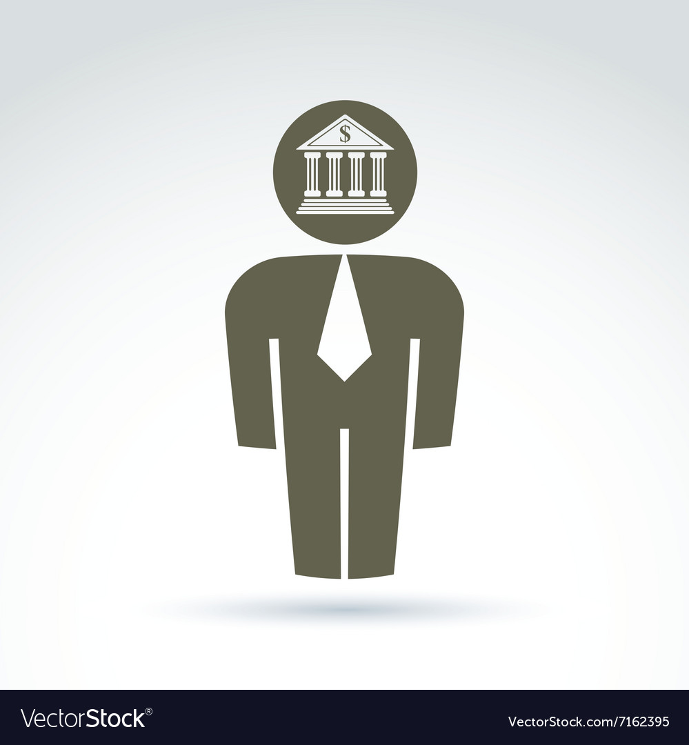 White collar bank worker man icon with bank