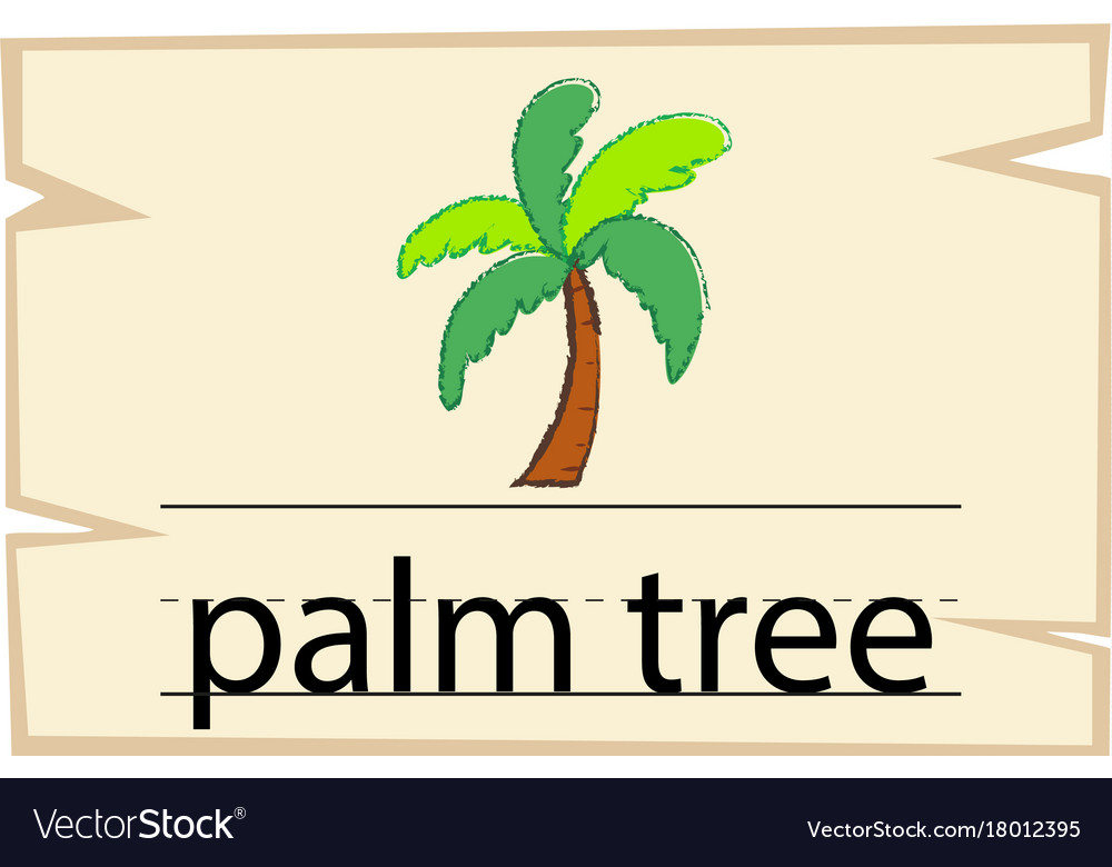 Wordcard Template For Word Palm Tree Royalty Free Vector