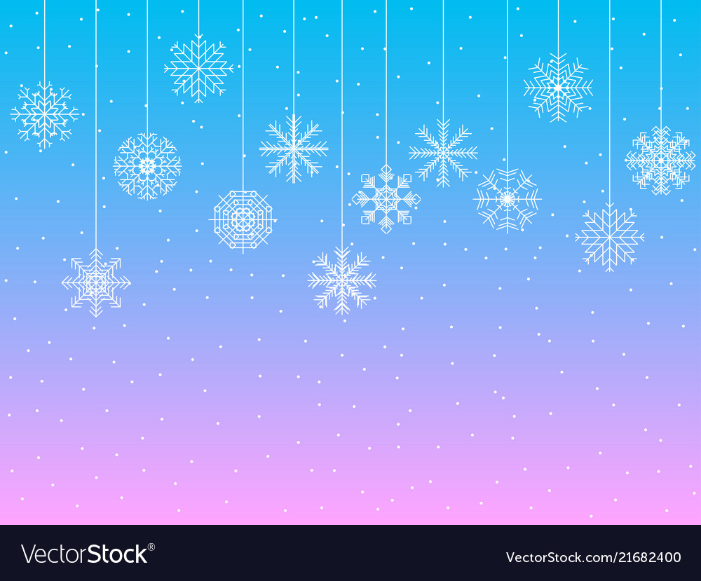 Background with snowflakes hanging snowflakes