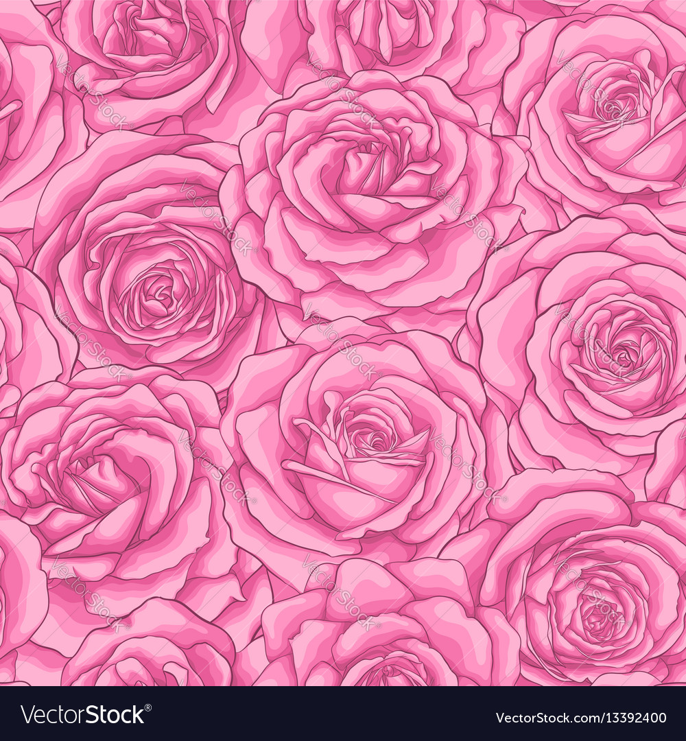 Beautiful vintage seamless pattern with pink roses