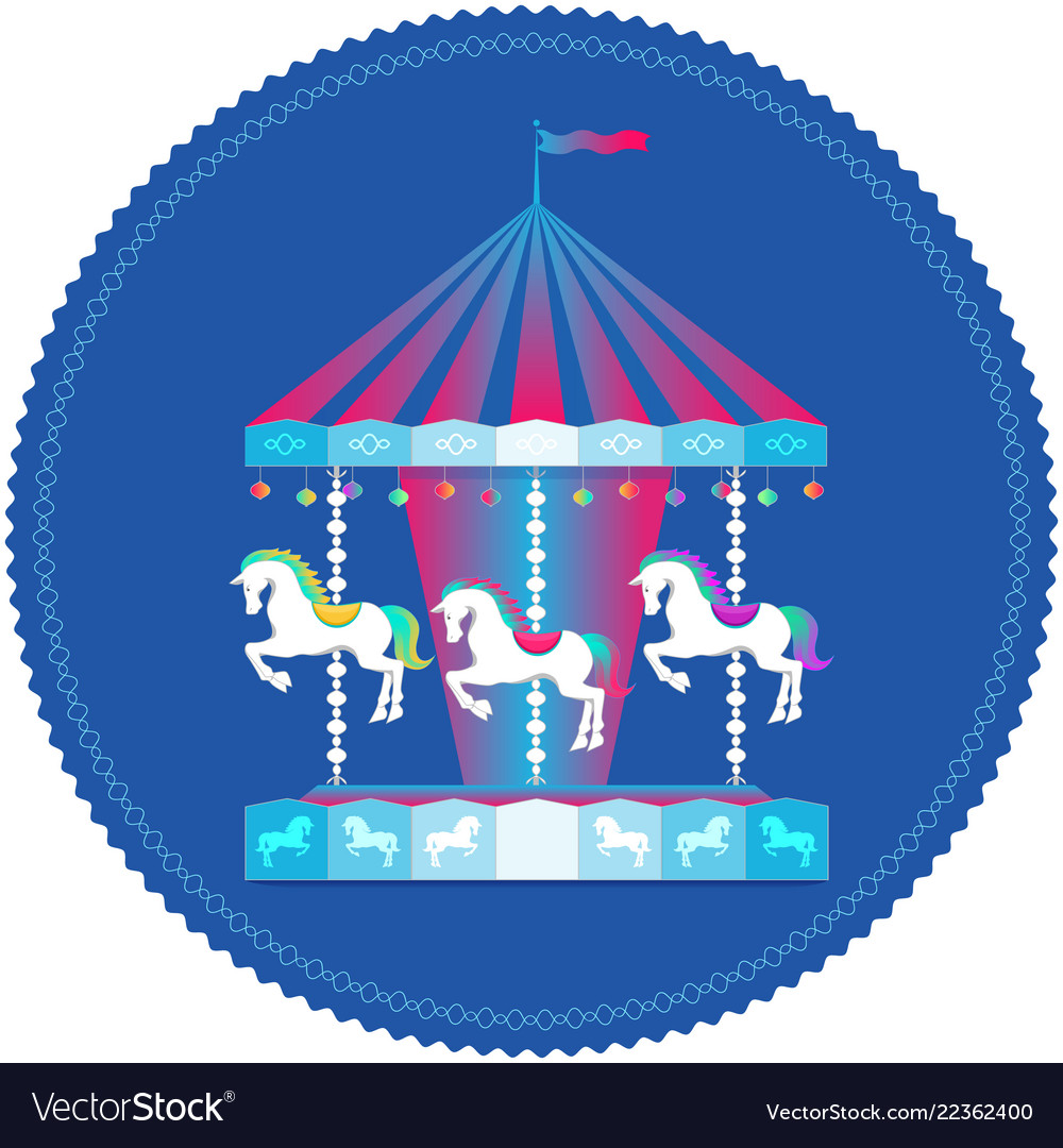 Carousel with horses colorful icon