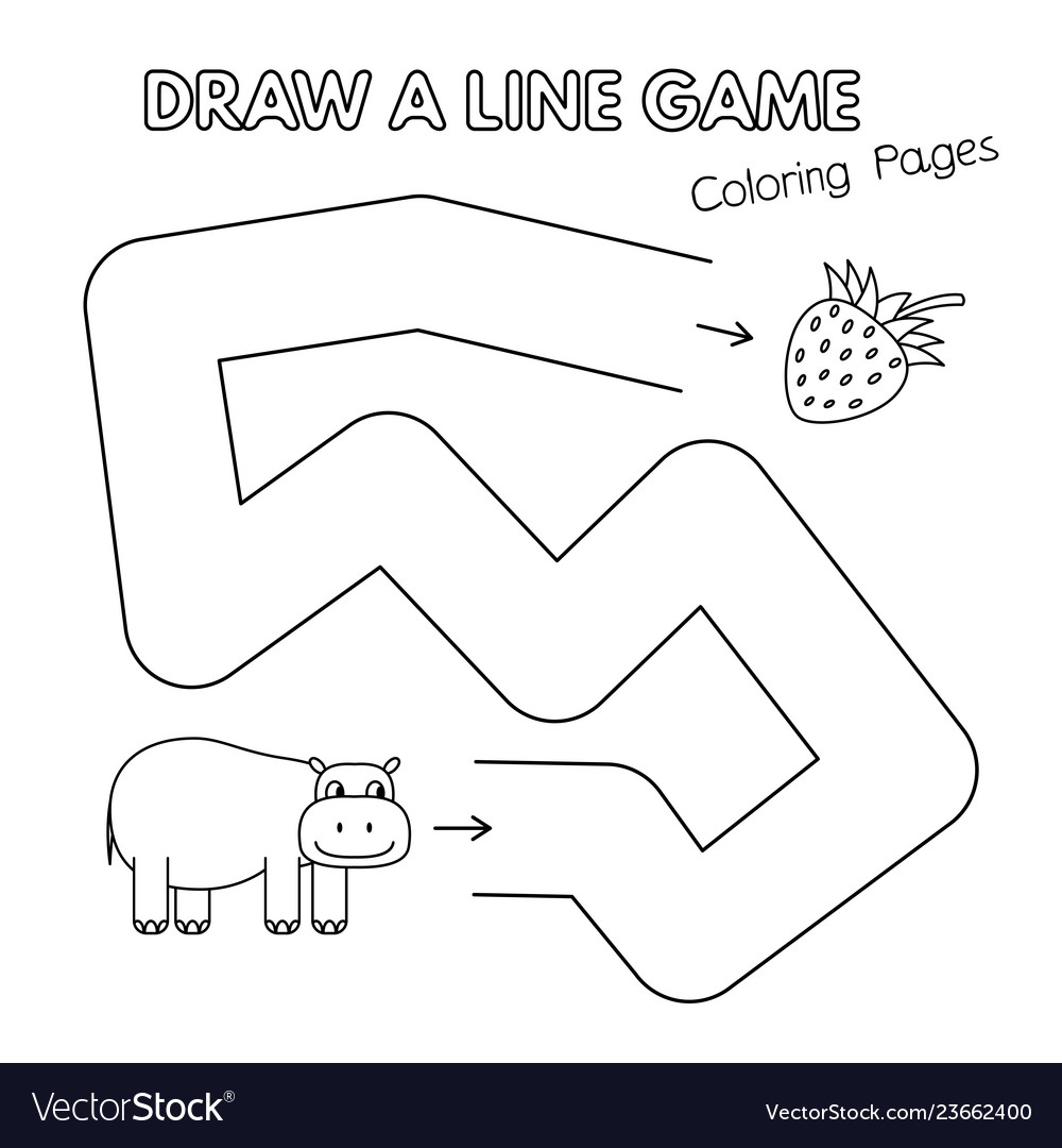 Cartoon hippo coloring book game for kids