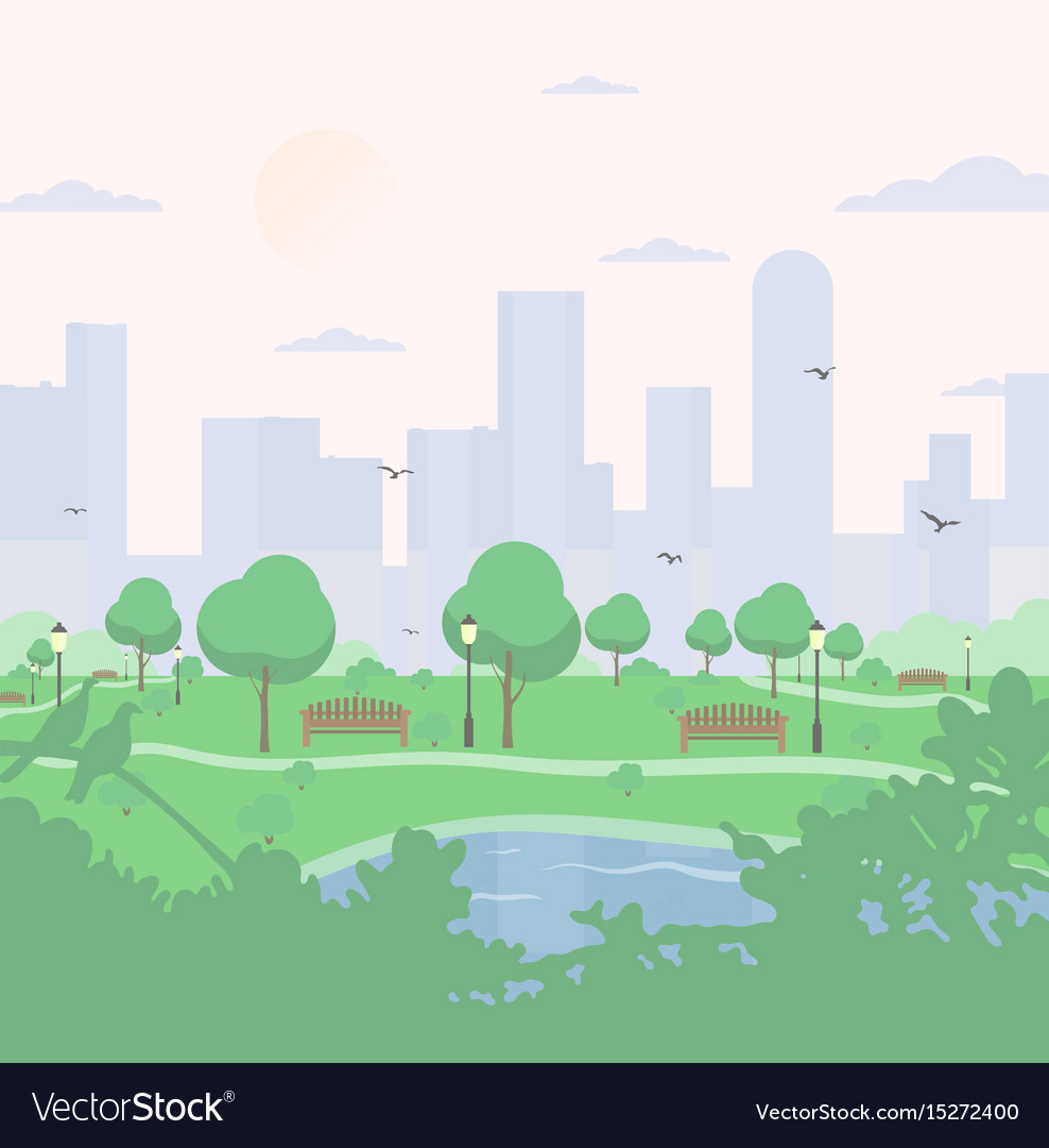 City park on high-rise buildings background