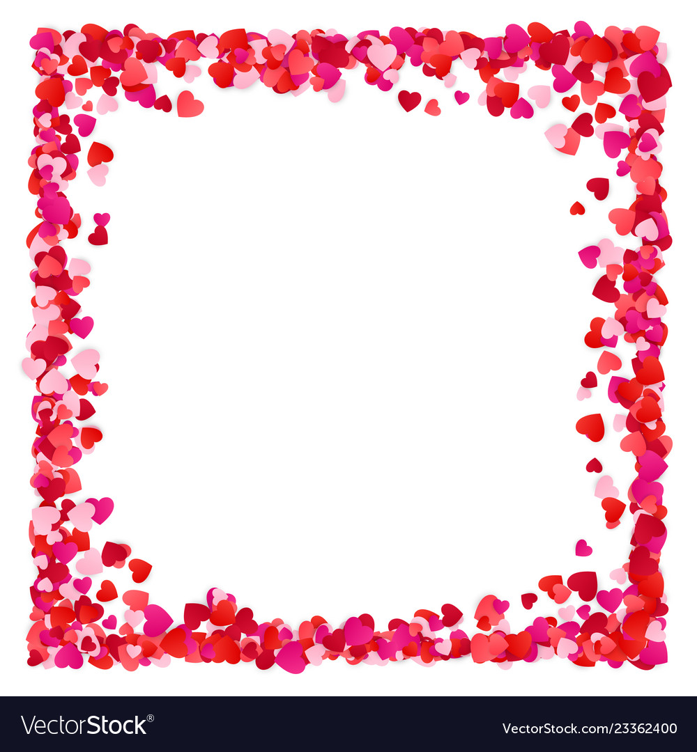Corolful red paper heart frame background
