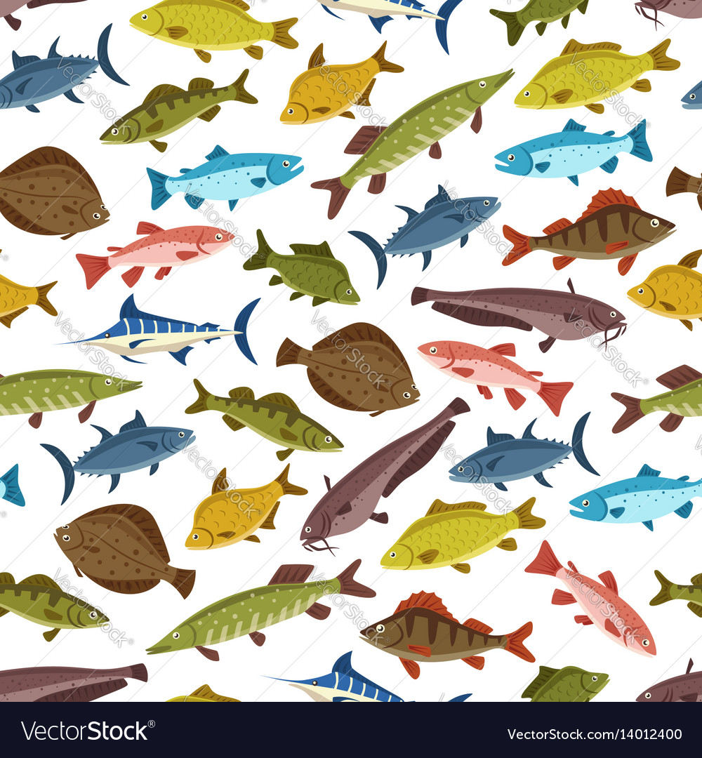 Fish seafood seamless pattern background design vector image