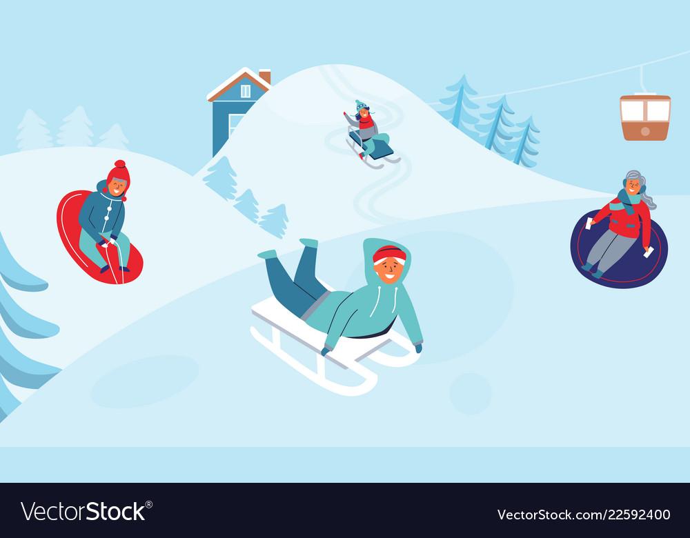 Girls and boys sledding children characters winter