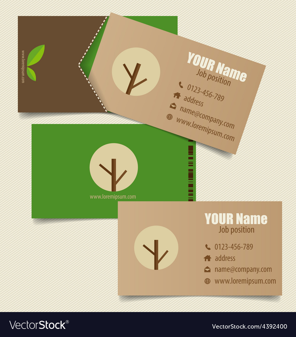 Modern business card template with nature vector image reheart Image collections