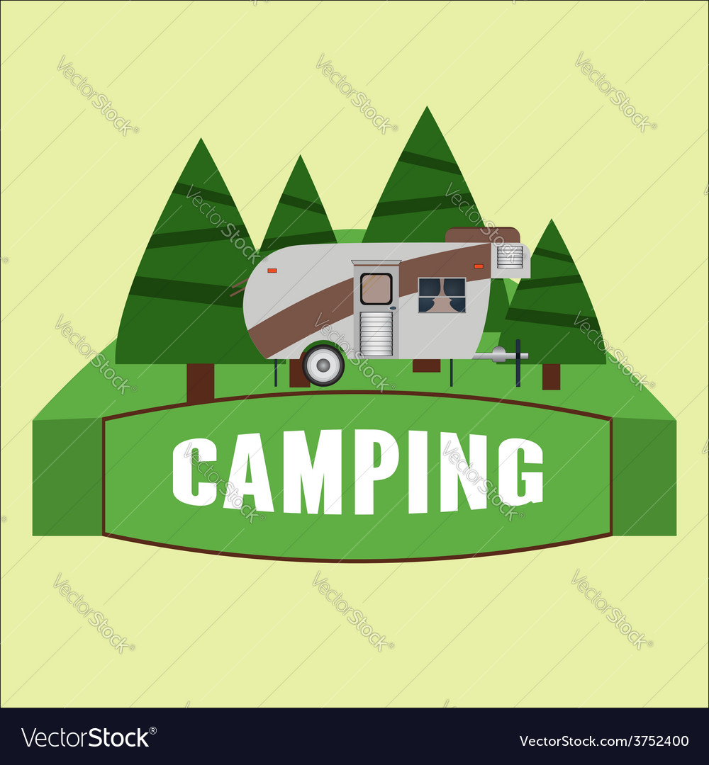 RV camping Logo and badge vector image