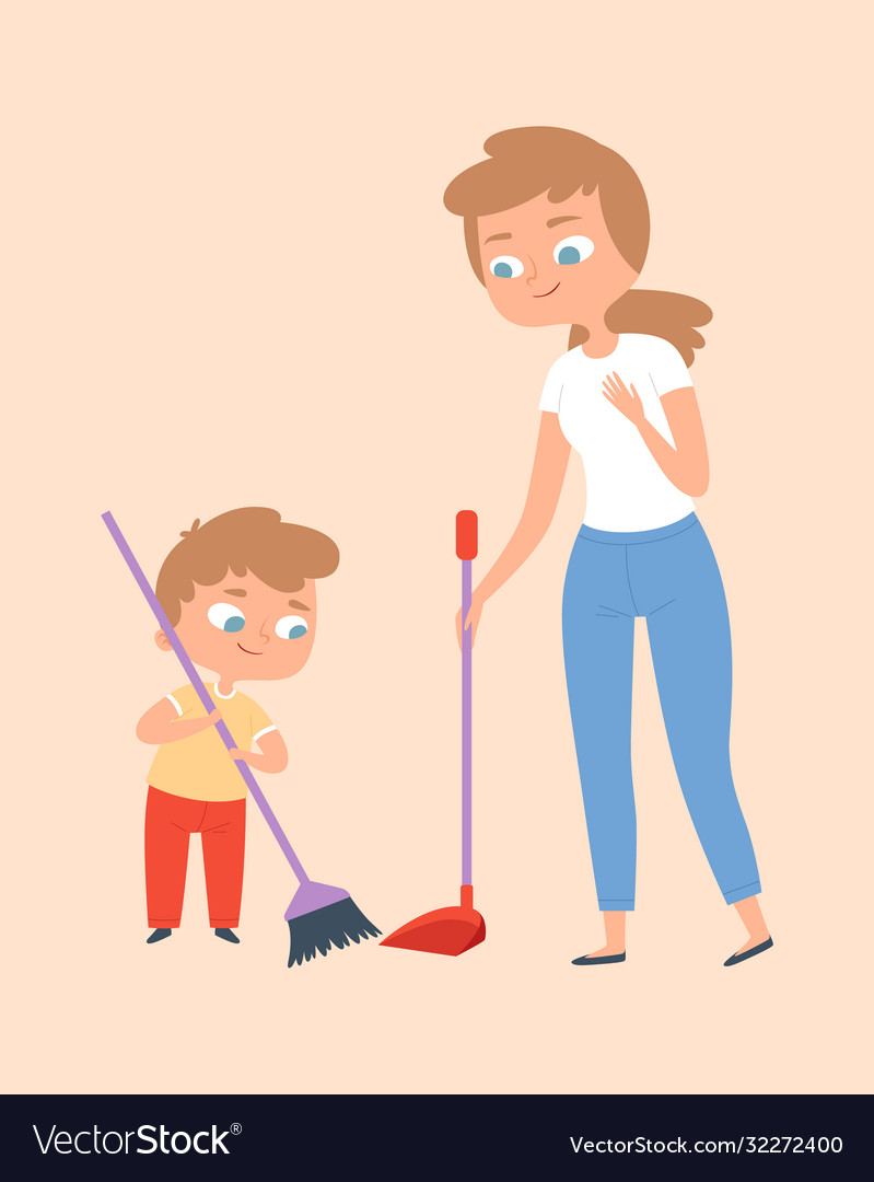 sweep floor mother and son with broom family vector image vectorstock
