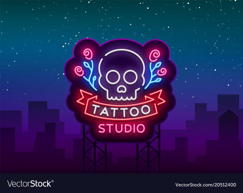 Tattoo salon logo neon sign a symbol of a