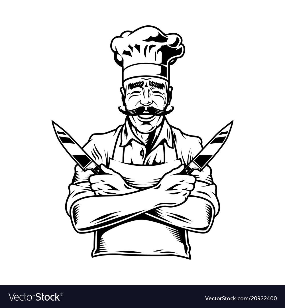 Vintage smiling chef holding knives