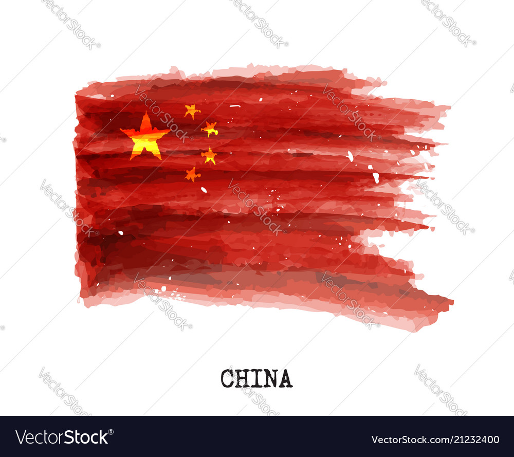 Watercolor painting flag of china