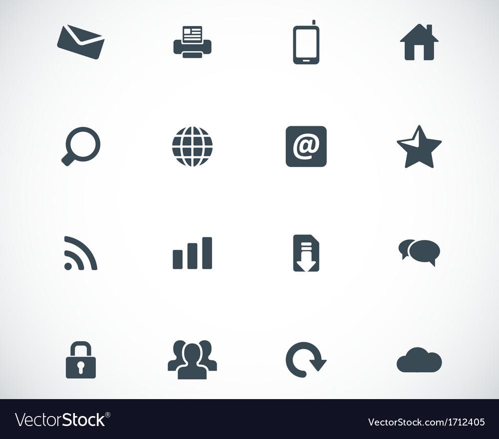 Black internet icons set vector image