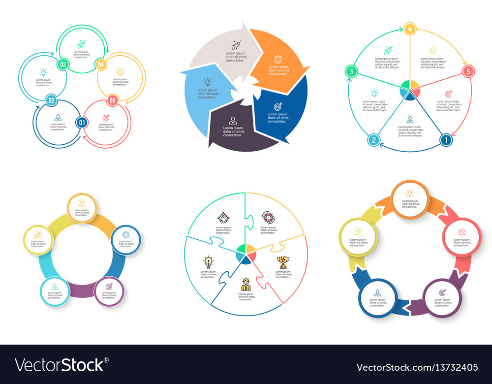 Business infographics diagrams with 5 steps