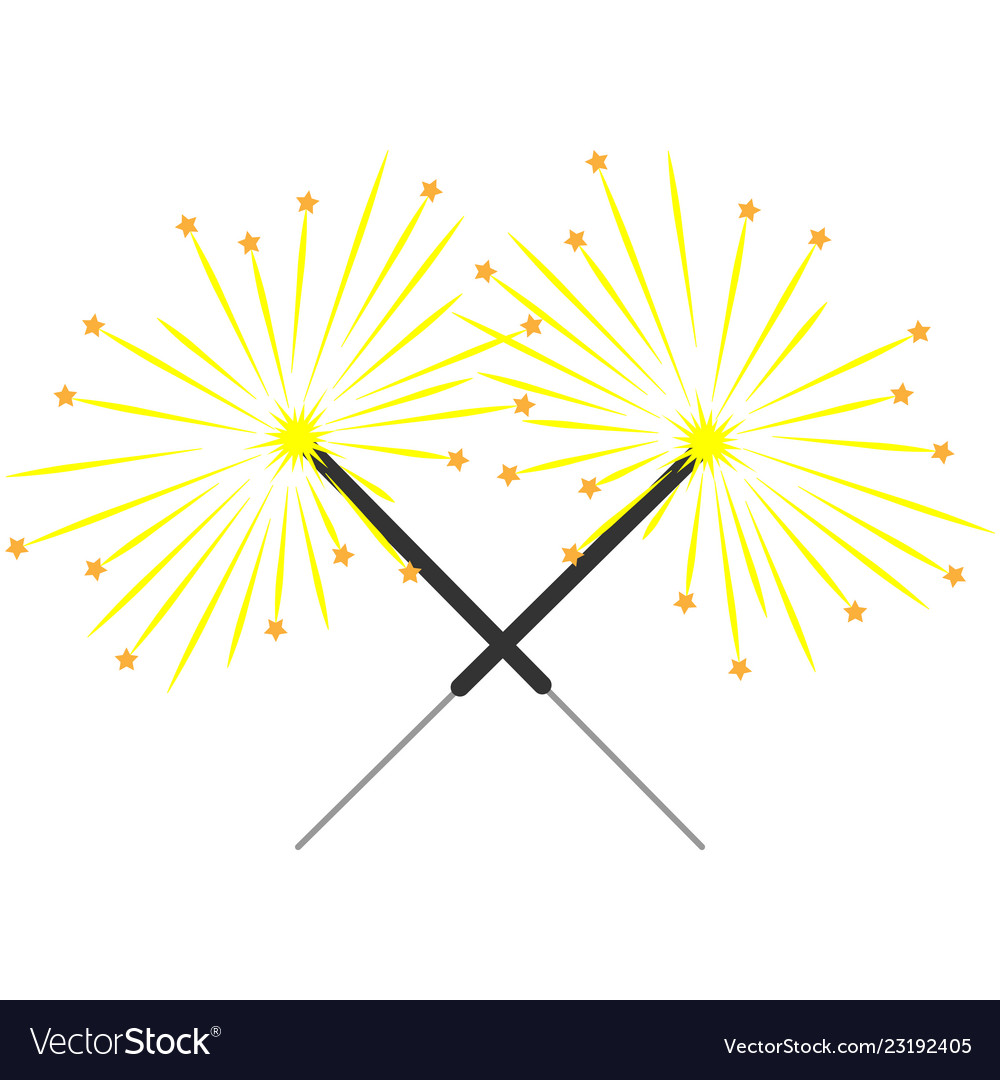 Double color sparkler on white background sign 3