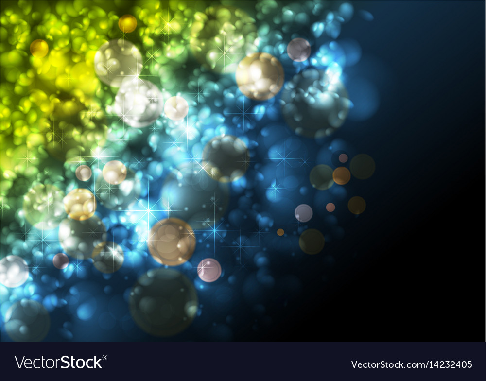 Green and blue festive abstract luminous particles