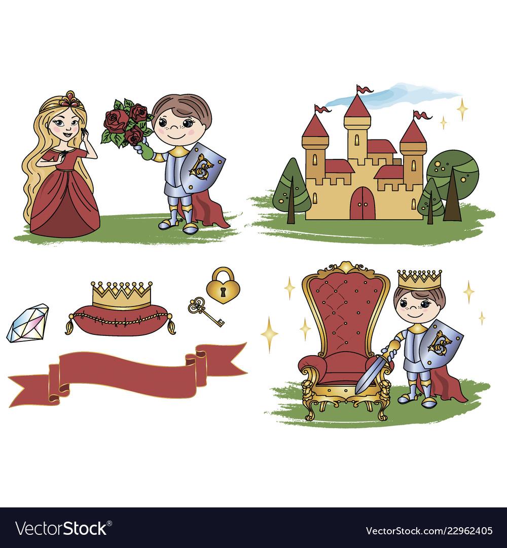 Little king castle cartoon clipart color