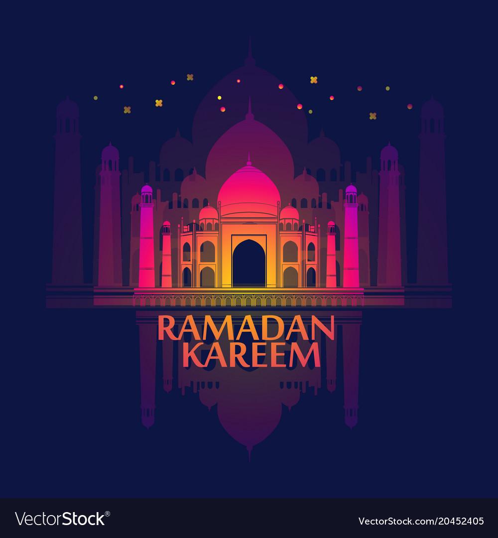 Ramadan Islamic Holiday Card Greeting Background Vector Image
