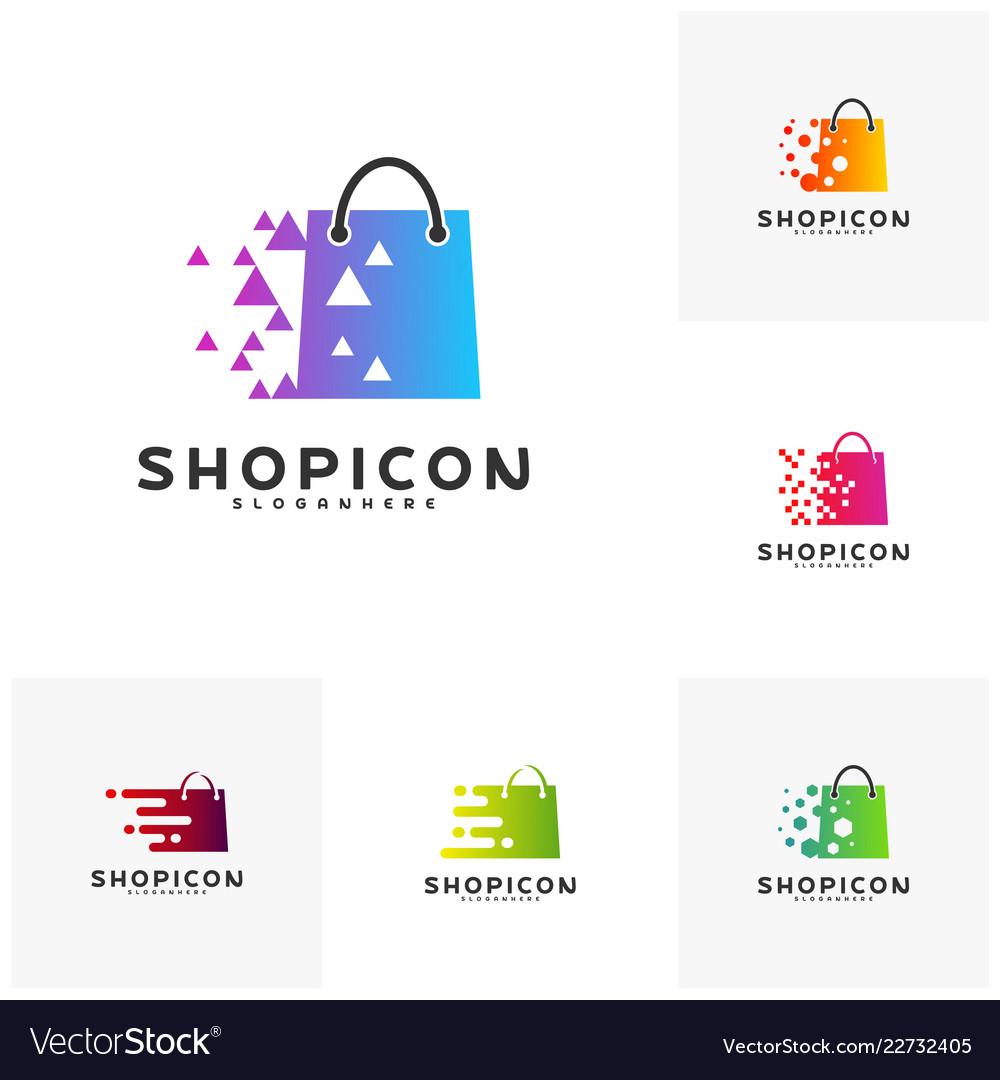 Set of online shop store market logo template