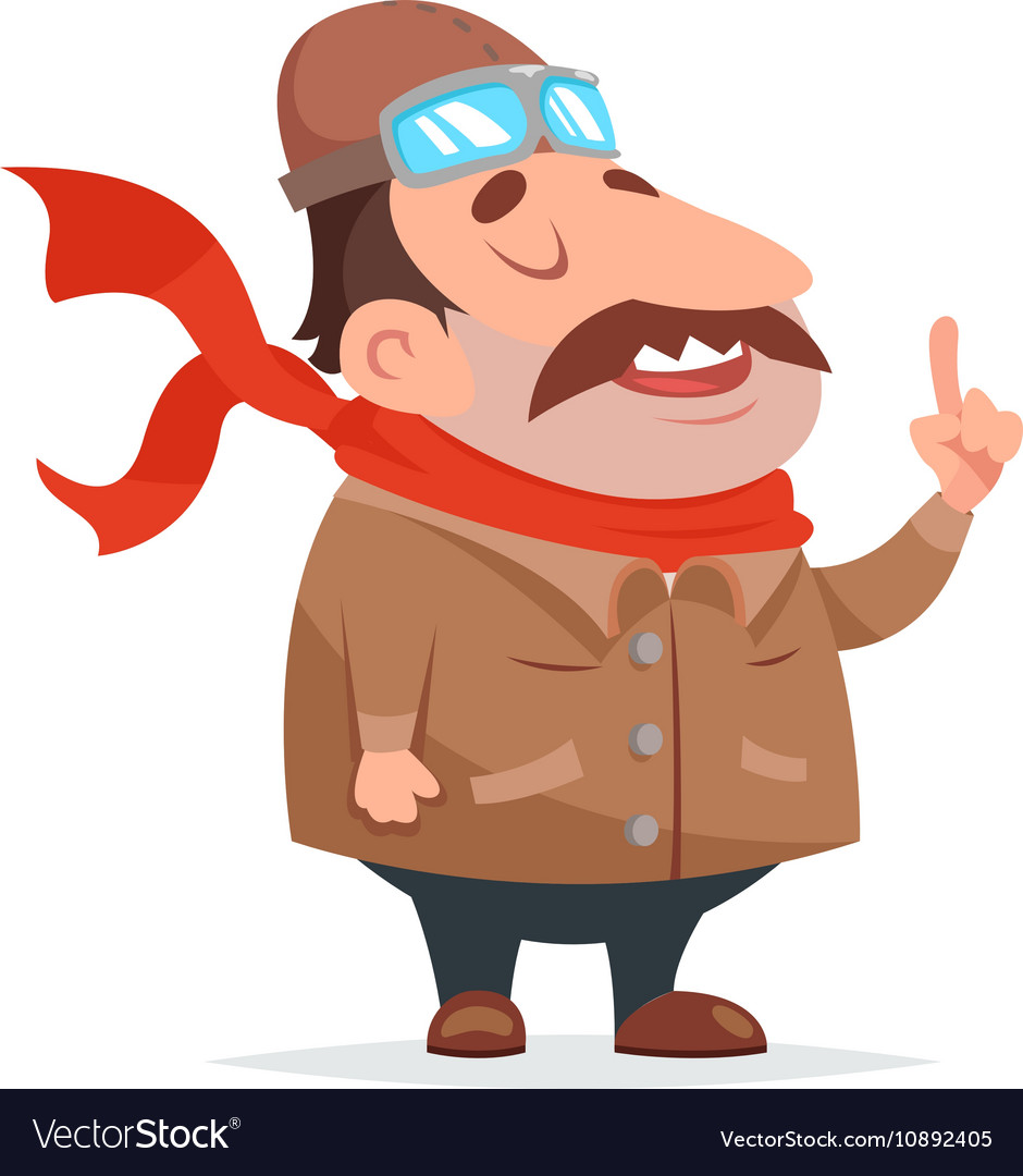 Thick Aviator Pilot Mascot Character Icon Retro