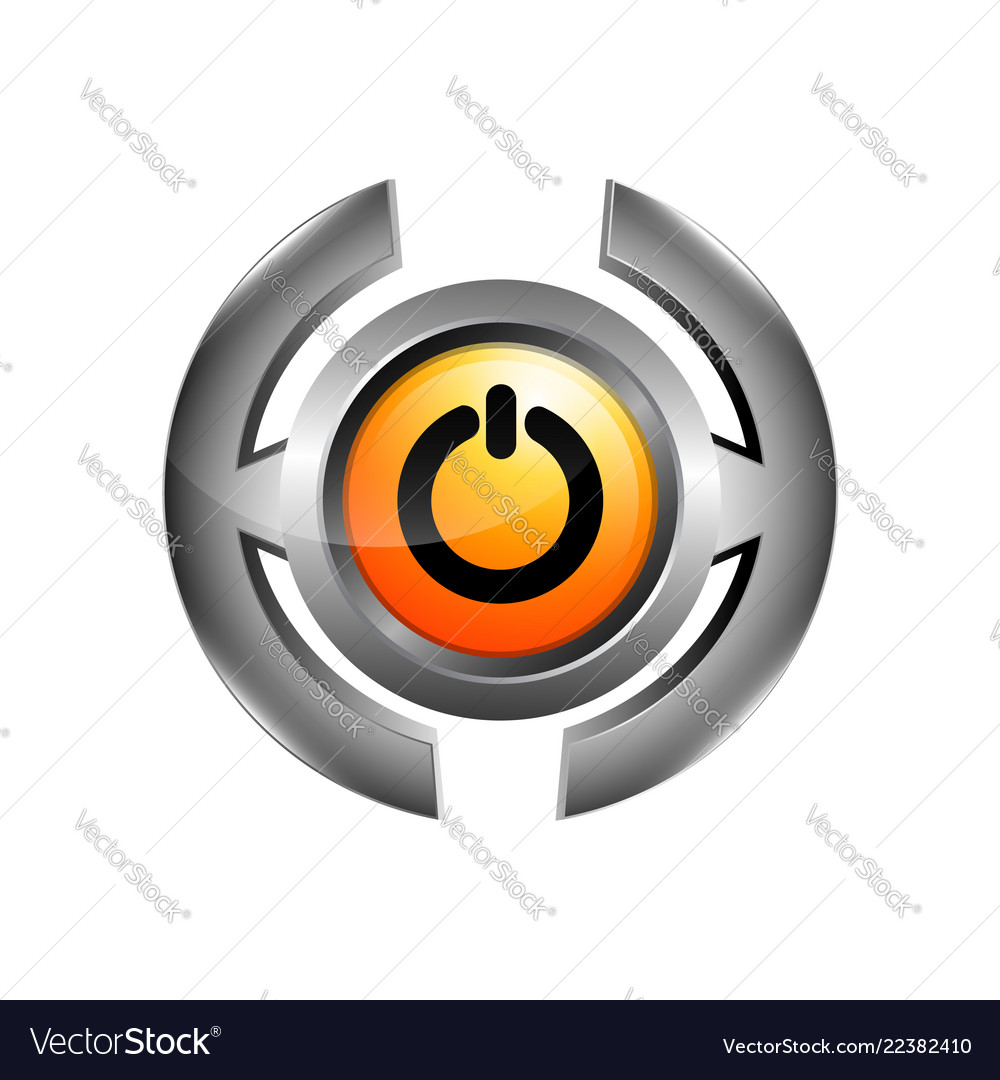 3d logo of chrome power button turn off icon