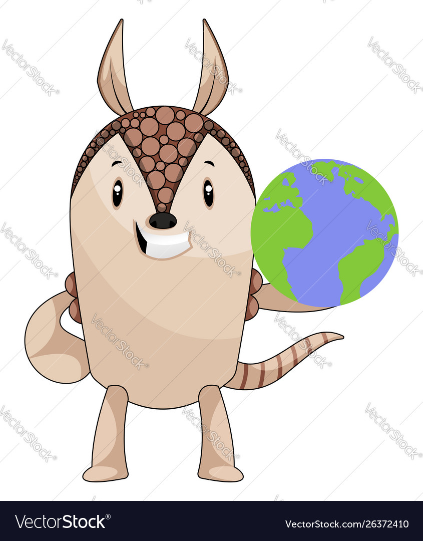 Armadillo with planet earth on white background