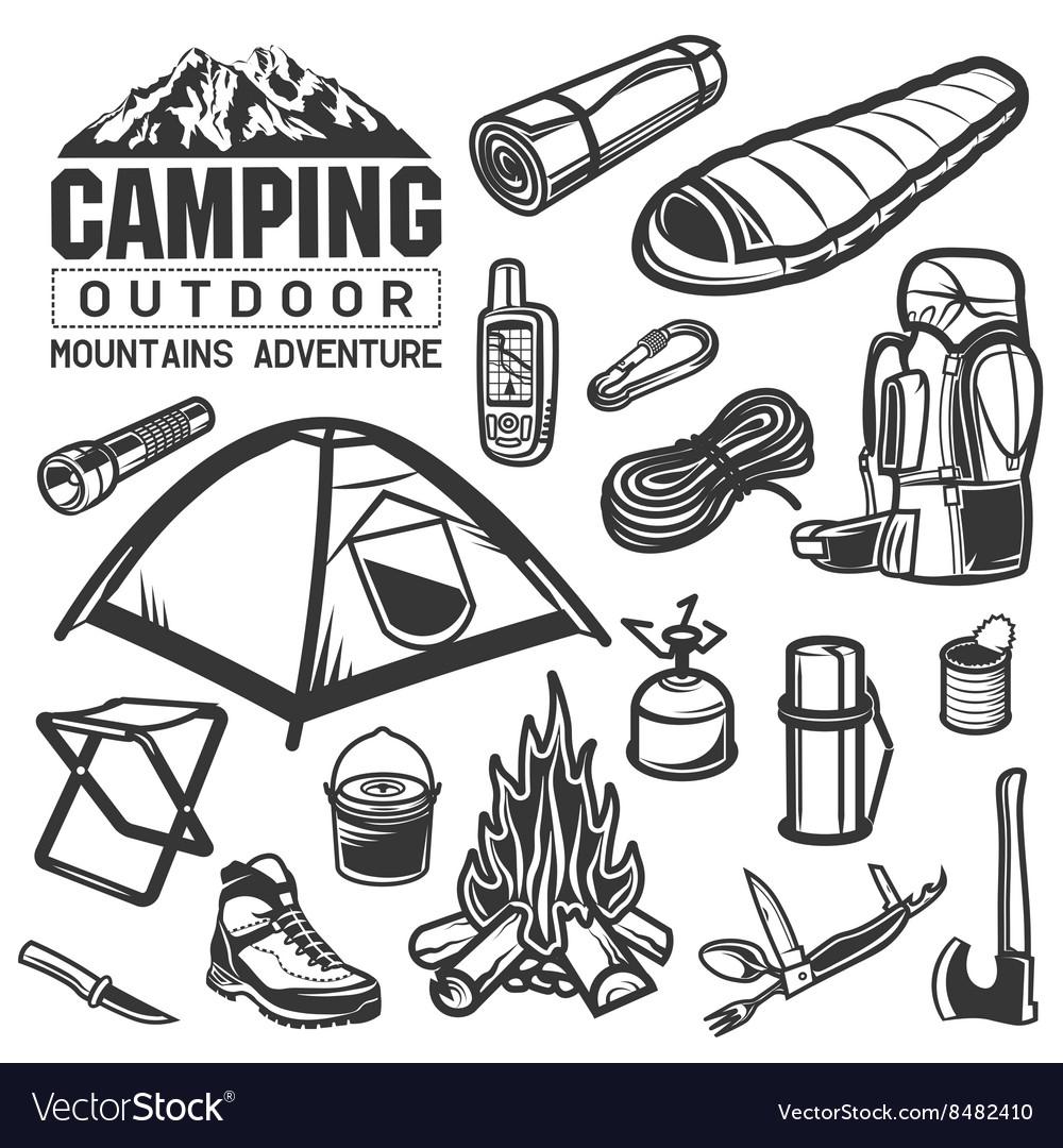 Camping and hiking equipment symbols Tent logo