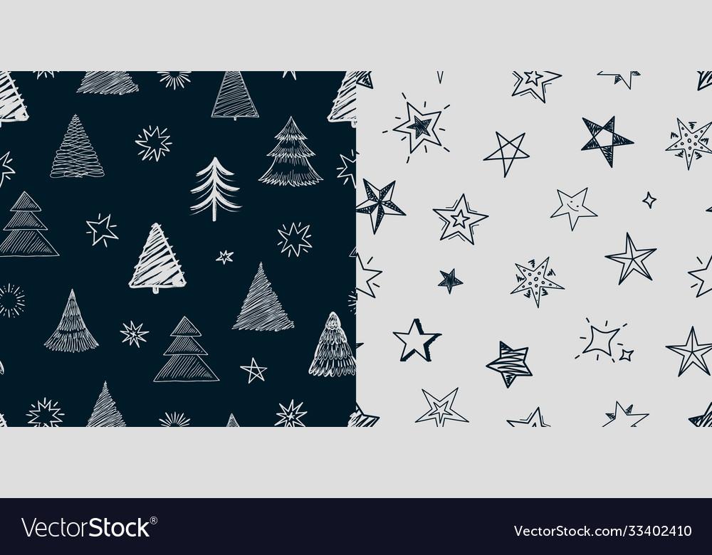 Fir tree stars pattern christmas new year