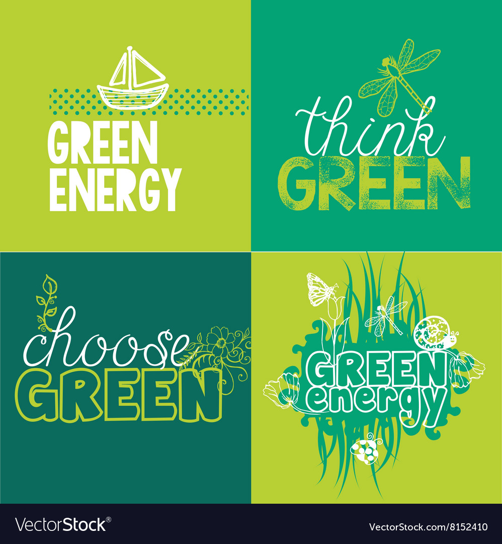 Green Logotypes Set for ecological projects