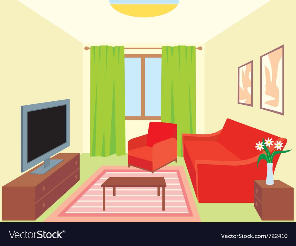 Cartoon Room: Living Room Royalty Free Vector Image