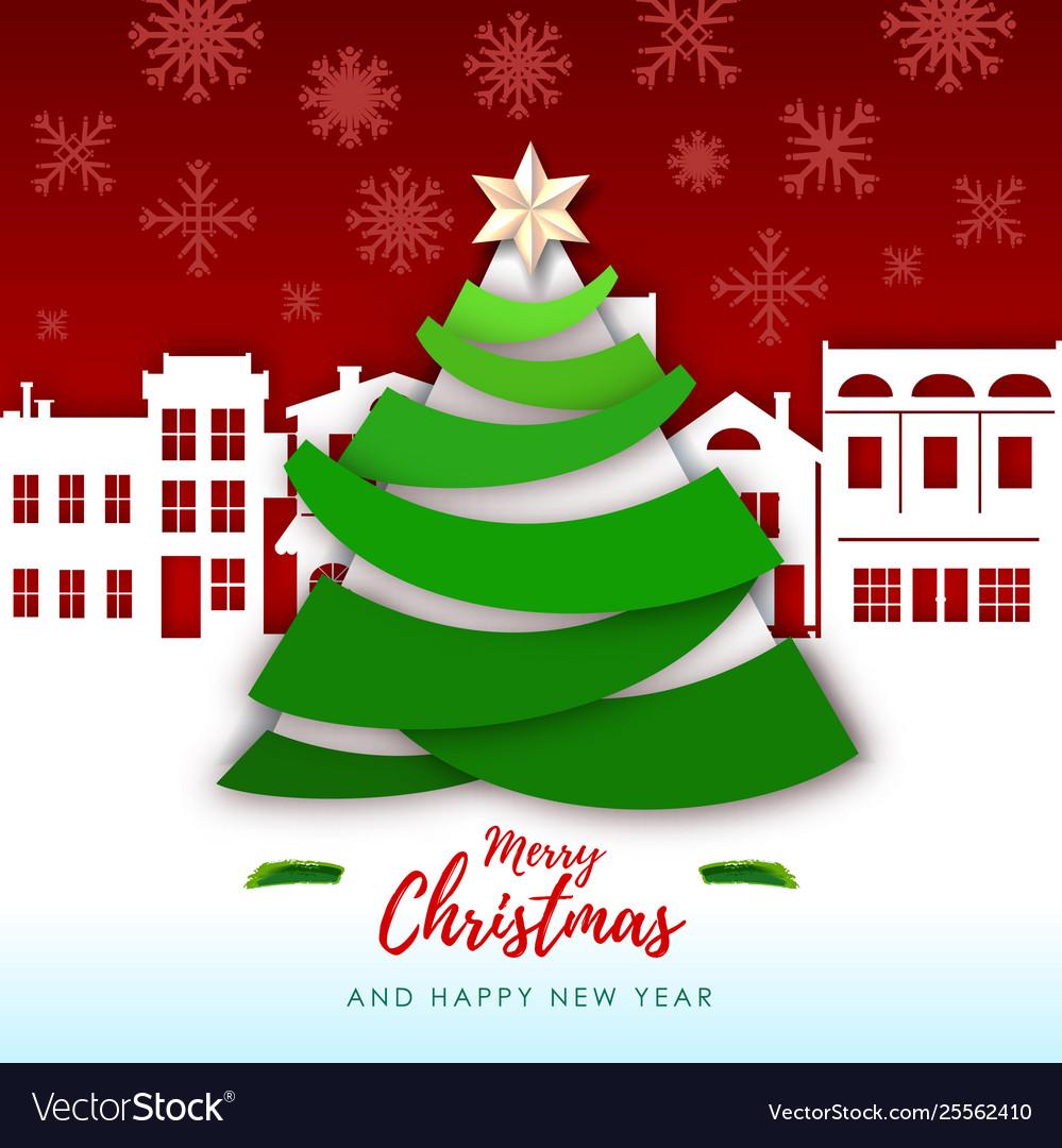 Christmas Greeting.Merry Christmas Greeting Card With Christmas Tree