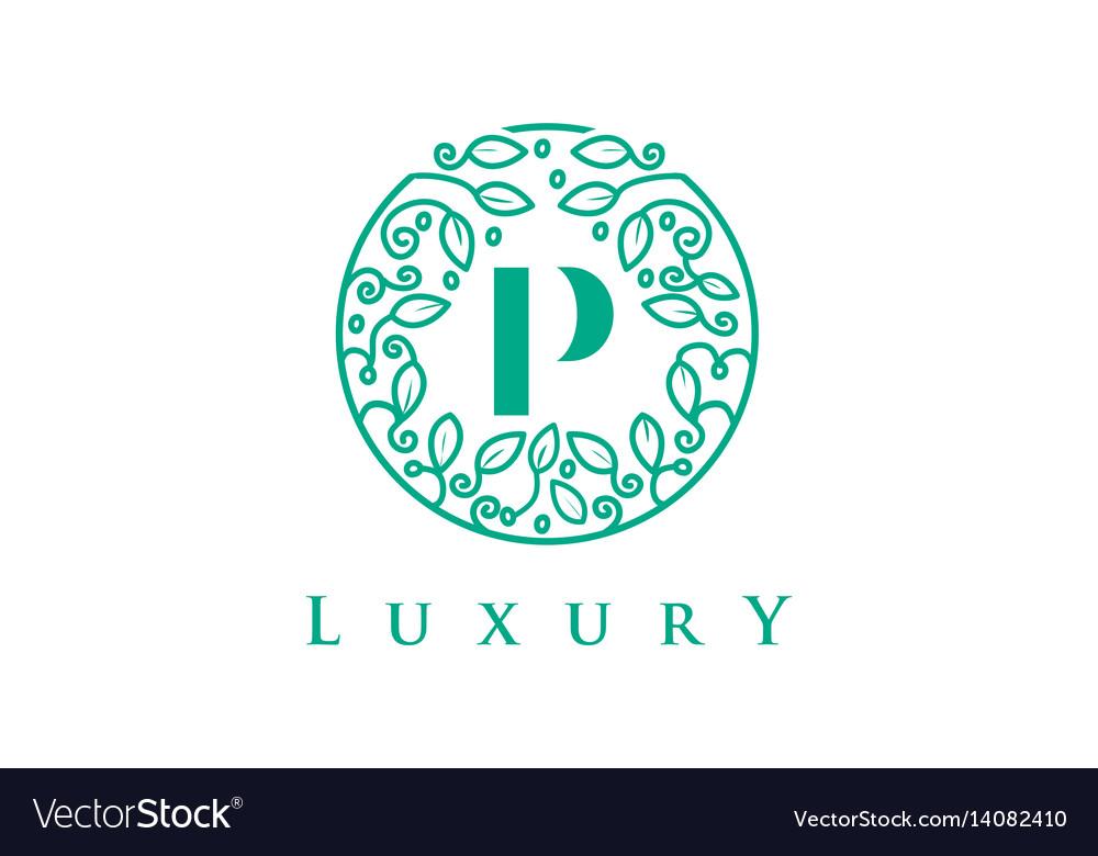 P letter logo luxurybeauty cosmetics logo vector image