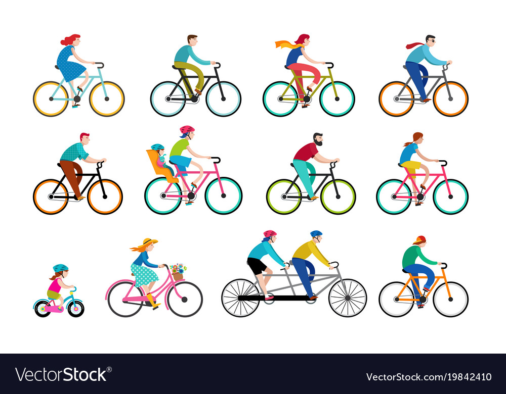 People riding on bicycles in the park vector image