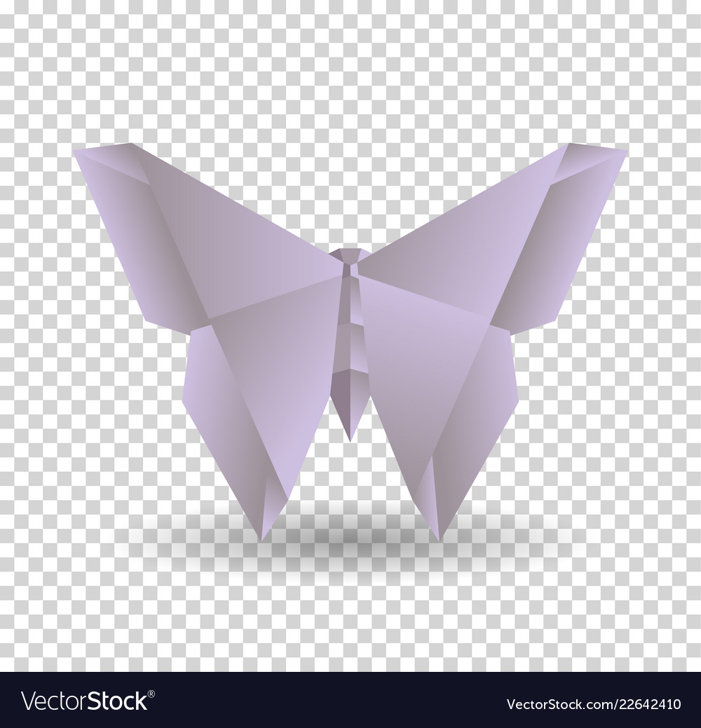 Pink origami butterfly on transparrent background