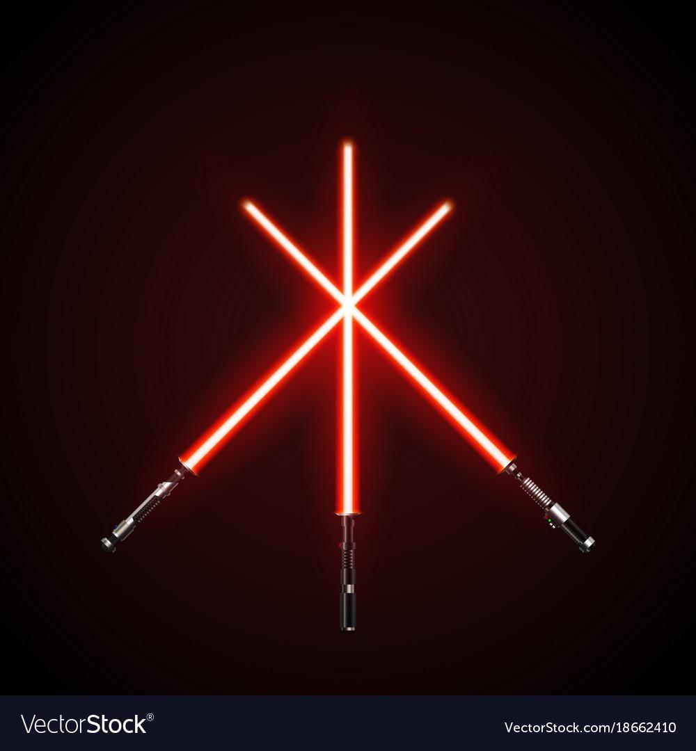 Red crossed light swords isolated on dark