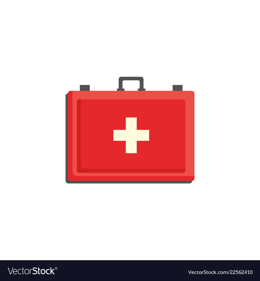 Red first aid kit case with cross isolated on