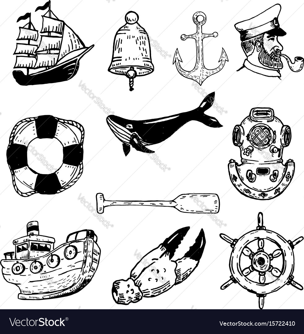 Set of hand drawn nautical elements design