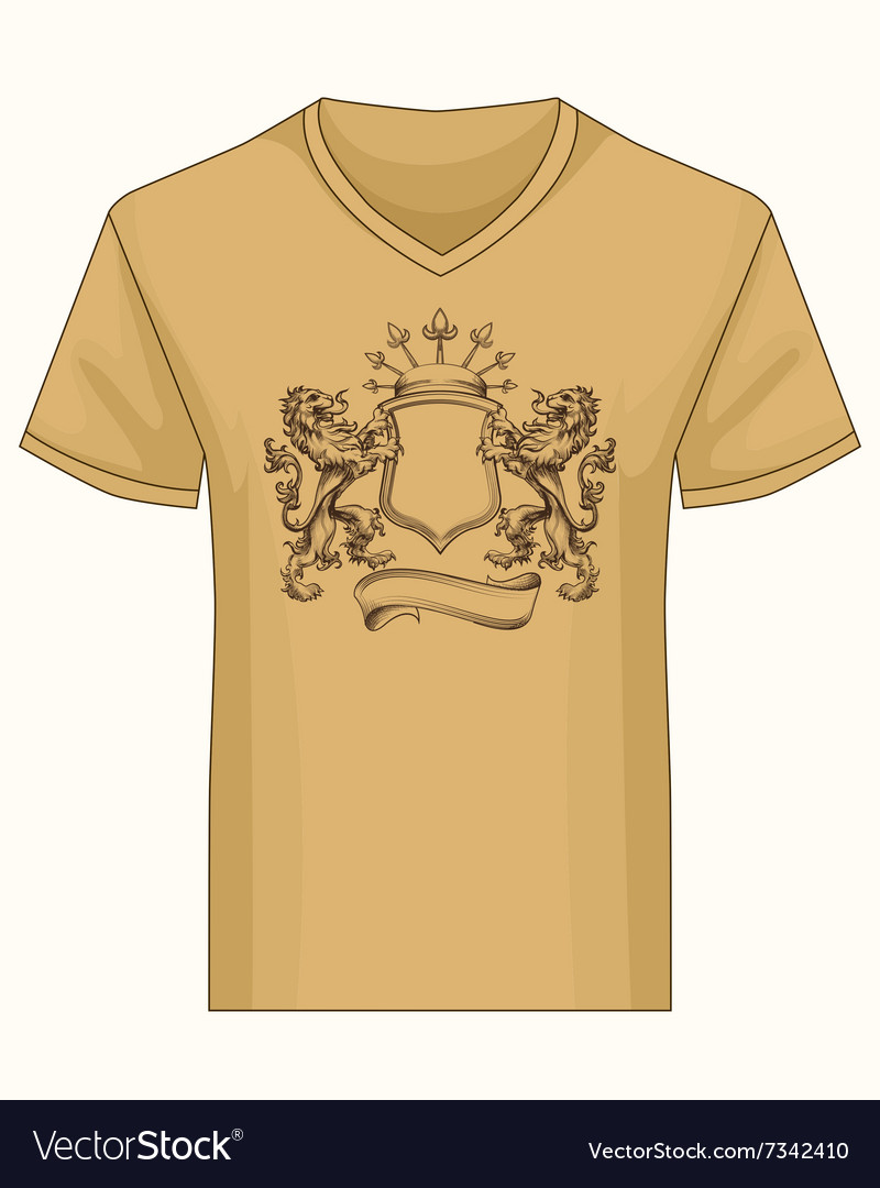 Shirt template with heraldry coat of fame