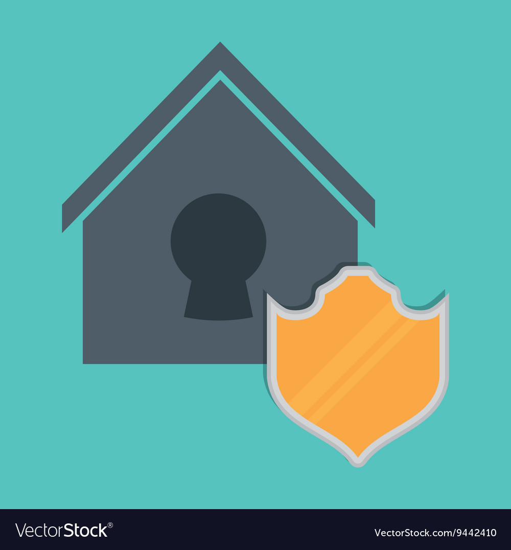 Smart home design protection icon graphic