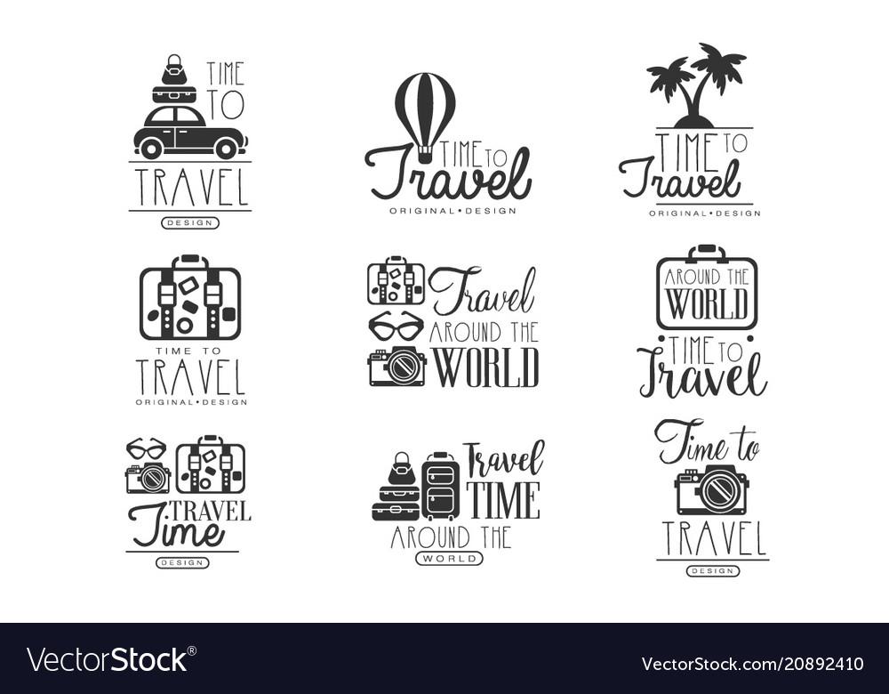 Travel around the world set for label design