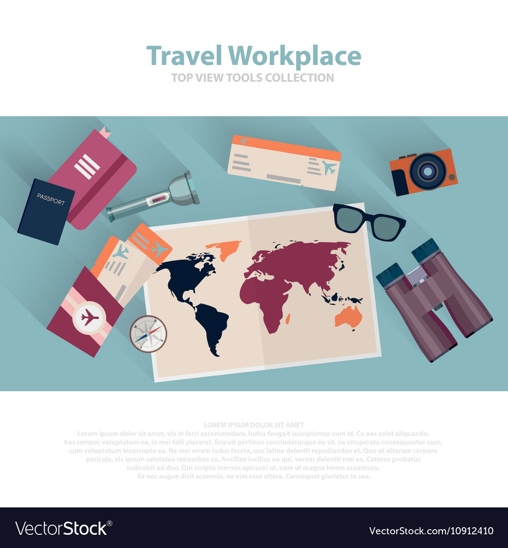 Travel infographic workspace set Concept planning