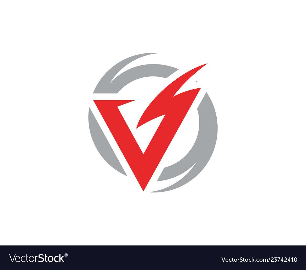 V letter lightning logo template