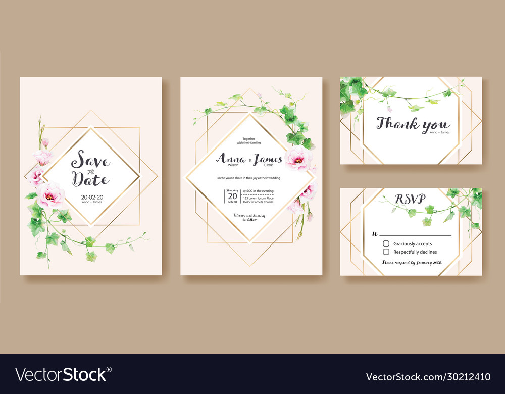 Wedding invitation save date rsvp card